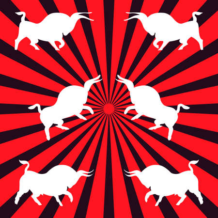 Three pairs of white bulls. Dynamic wild bulls attack each other. Angry animals. Side view. Hand-drawn evil buffaloes. Spanish bullfight. Vector flat illustration on red and black rays background.