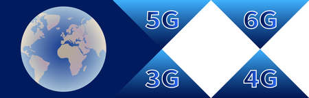 Technology banner. Globe with continents on blue background. High speed data transmission technologies 3G 4G 5G 6G. Mobile communications and telecommunications. Logistic network business concept.