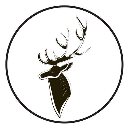 Deer head silhouette with large horn. Black and white animal isolated. Cervus side view. Hand-drawn minimalism. Elk vector graphics. Wapiti image for wedding, anniversary, birthday, invitation, logo.