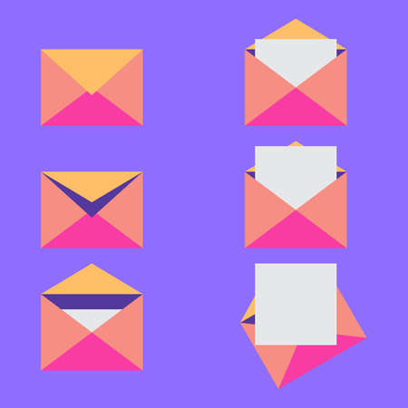 Mail envelopes set. Blank layouts. Various envelopes. Sealed, half-open and four open envelopes with white paper sheet. Flat style. Communication, correspondence or office documents delivery topic. Ilustração