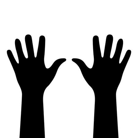 Two hands close-up. Black silhouettes isolated. Right and left human hands with palms raised up. Hand fragments from wrist to fingertips. Human body details. Vector flat illustration. EPS 10 format Vector Illustratie