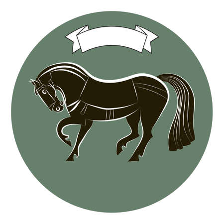 Thoroughbred racehorse. Horse silhouette isolated on green circle background. Black and white outline mustang. Ribbon banner over stallion. Equestrian symbol.