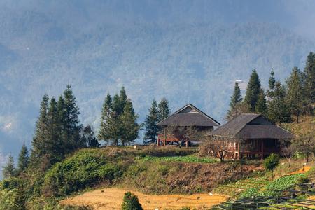Uitzicht op terrasvormige bergen in Sa Pa, Vietnam. Stockfoto