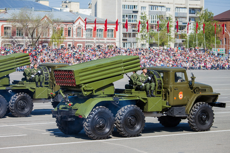 SAMARA - MAY 9: Military parade during the celebration of the Victory Day in the Great Patriotic War (World War II) on the square on May 9, 2014 in Samara, Russia.
