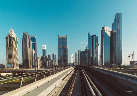 DUBAI, UAE - DECEMBER 12, 2018: Modern buildings in Dubai, UAE. View from the skytrain.