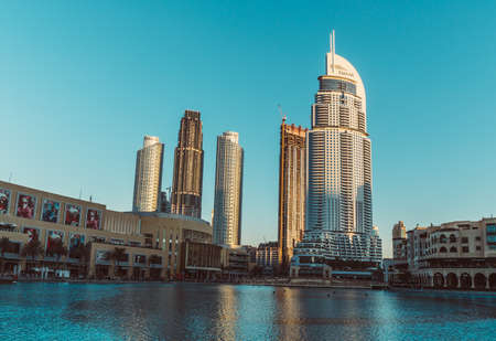 DUBAI, UAE - DECEMBER 12, 2018: View at Burj Khalifa Lake and Modern buildings in Dubai Downtown, Dubai, UAE.