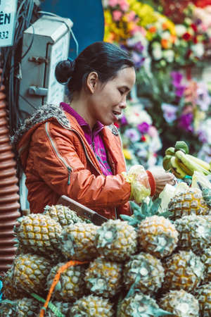 HANOI, VIETNAM - DECEMBER 15, 2018 : Street scene of the Old Quarter of Hanoi. Local daily life of the morning street market, street vendor selling various types of fruits from the bicycle