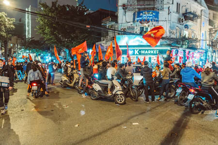 HANOI, VIETNAM - DECEMBER 15, 2018: Thousands of fans flocked to the streets of the capital Hanoi to celebrate their country's victory in the ASEAN Football Federation Championship final. Editöryel
