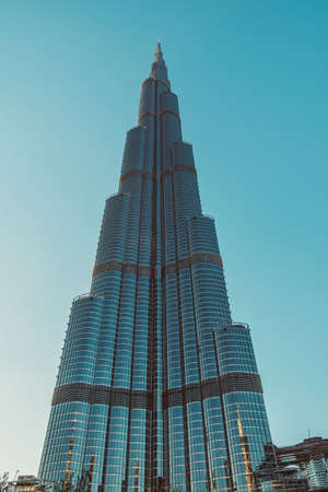 DUBAI, UAE - DECEMBER 12, 2018: Burj Khalifa tower in Dubai. Burj Khalifa is the highest building in the world. Editöryel