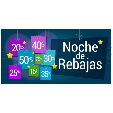 reductions: Rectangular Banner Sale in spanish, rebajas written, discounts hung, dangling in the purchase night Illustration