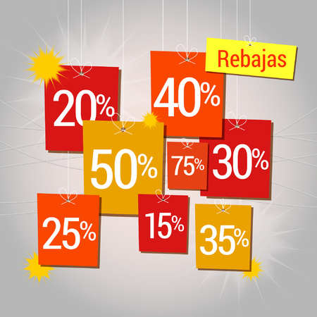dangling: Sale in Spanish, rebajas written, discounts hung, rebates dangling
