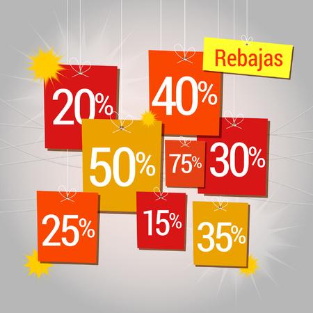 Sale in Spanish, rebajas written, discounts hung, rebates dangling