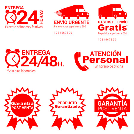 Spanish ecommerce pack  24 hours delivery, free shipping, customer service and sales guarantee, online internet shopping Vector