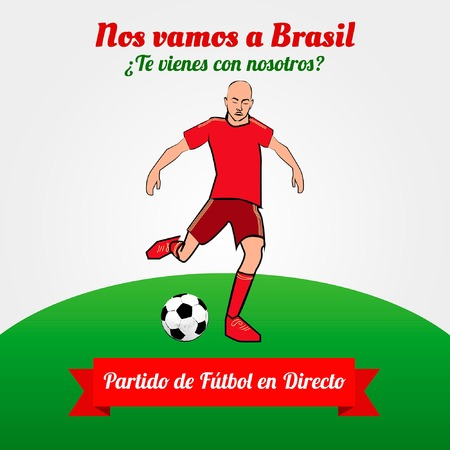 Are we going to Brazil  Support the red  la roja   Text in Spanish Vector
