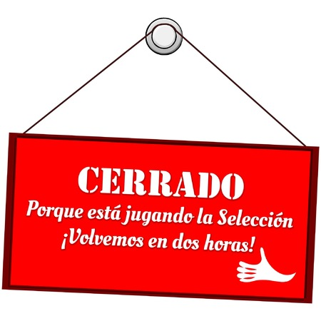 Open sign on the door that says open for holidays, text in Spanish