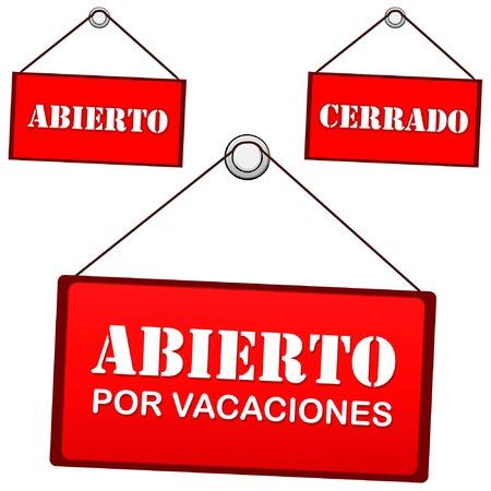 dangle: Aprire cartello sulla porta che dice aperta per le vacanze, il testo in spagnolo