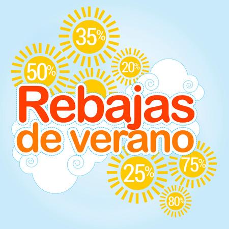 Summer Sale, rebajas written in spanish, Summer discounts