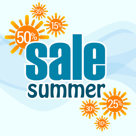 Summer sales, blue text with orange sun Vector