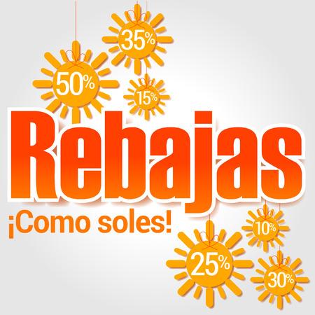 売り上げ高は、太陽、夏の割引は、太陽のような太陽、スペイン語のテキストのような輝き