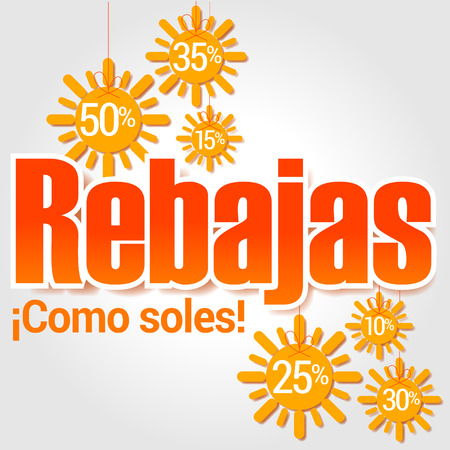 Sales are suns, summer discounts are like sunshine, they shine like suns, spanish text