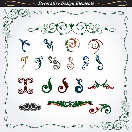 Collectie van decoratieve Design Elements 7 Stock Illustratie