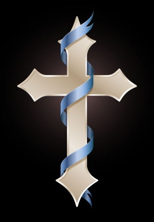 cross tribal tattoo: Golden cross with blue banner, symbol of hope and faith