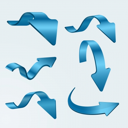 Set of 3D blue arrows on white background