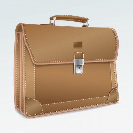 Leather Briefcase on white background