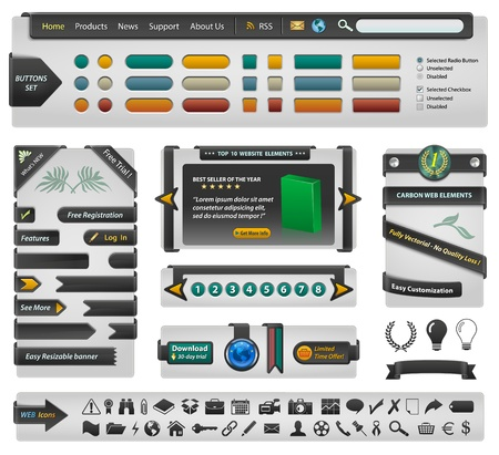 Website design interface and banners - Carbon style Illustration