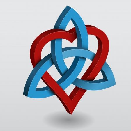 Ilustración de un nudo céltico del corazón triquetra