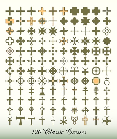 Collection of 120 isolated classic crosses 矢量图像