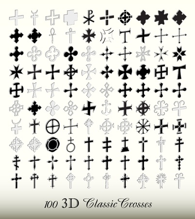 christian clip: Set of 100 popular isolated crosses , 3d ISO view