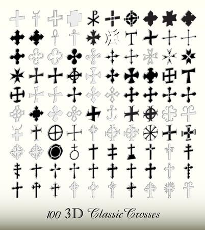 Set van 100 populaire geïsoleerde kruisen, 3d ISO view