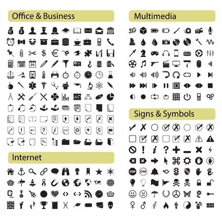 Professional icons set Office, Media, Internet and symbols