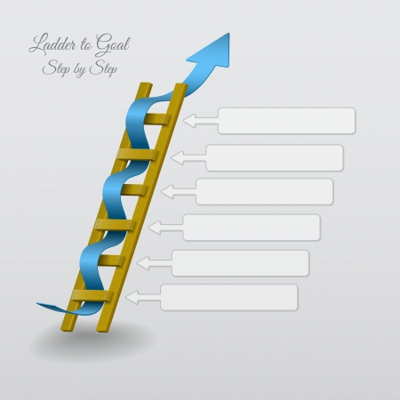 achieve goal: Abstract Illustration of a ladder with blue arrow  Illustration