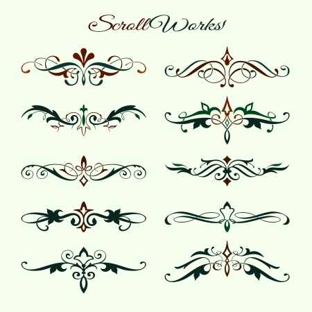 Scroll works Design, Ornamental decorative Elements Illustration