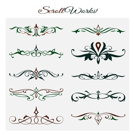 decoration: Scroll works Design, Ornamental decorative Elements Illustration