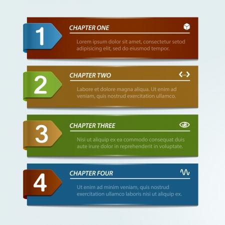 flechas: Banners numeradas con flechas - Resumen de fondo de negocio