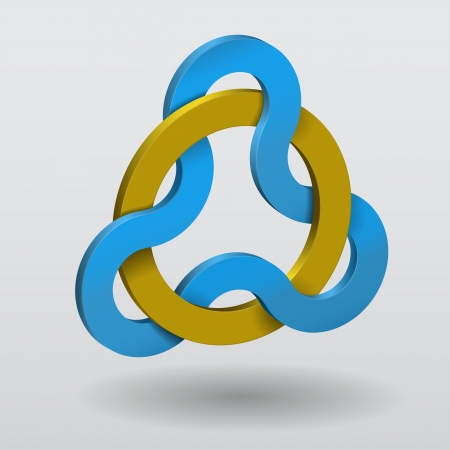 trinity: Circular Celtic knot triquetra with yellow ring