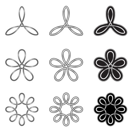triquetra: Collection of decorative Celtic patterns isolated on white background