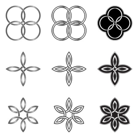 six objects: Collection of decorative Celtic patterns isolated on white background