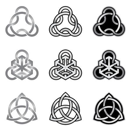 Raccolta di modelli celtici decorativi isolato su sfondo bianco Archivio Fotografico - 23091176