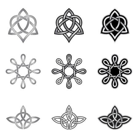 Raccolta di modelli celtici decorativi isolato su sfondo bianco Archivio Fotografico - 23091180