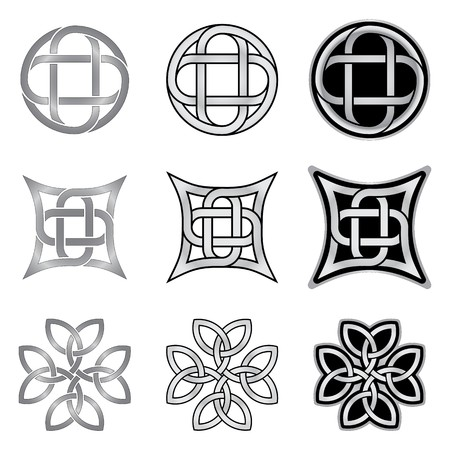 silver cross: Decorative Celtic patterns isolated on white background Illustration