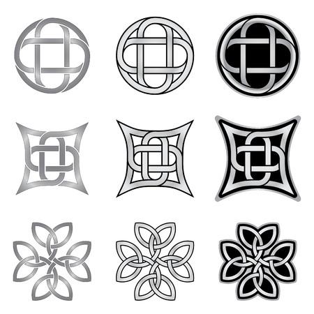Decorative Celtic patterns isolated on white background Illustration