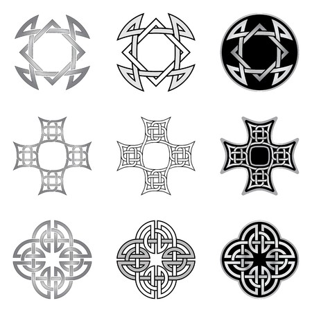 Decorative Celtic patterns isolated on white background Ilustração