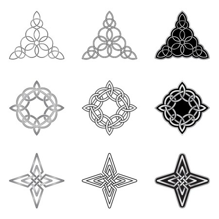 round: Decorative Celtic patterns isolated on white background Illustration
