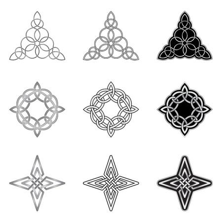 sin fin: Patrones c�lticos decorativos aislados sobre fondo blanco
