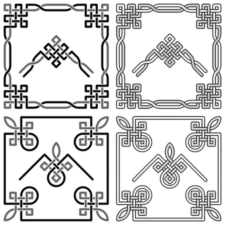Celtic knot corners patterns 1 Ilustração
