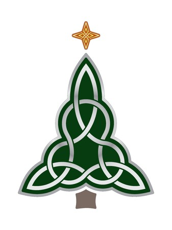 irish symbols: Celtic Christmas Tree Illustration